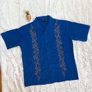 Other - Button Down Blue Embroidered Shirt